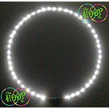"""LED Hula Hoop SOLID White (Ultra Bright) 50xLED's super high density Custom OD, 3/4"""" HDPE - w Charger & Battery"""