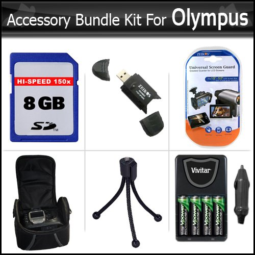 8GB Accessory Bundle Kit for Olympus SP-620UZ, SP-610UZ, SP-600UZ, FE-46, FE-47 Digital Camera Includes 8GB High Speed SD Memory card + USB 2.0 Card Reader + 4 AA High Capacity Rechargeable NIMH Batteries And AC/DC Rapid Charger + Deluxe Case + More