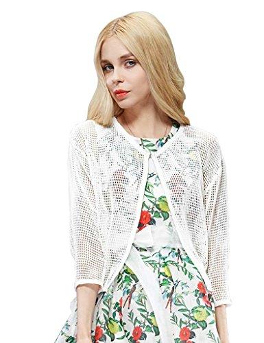 Elf Sack Womens' Summer Cardigan Mesh Short Medium Size White