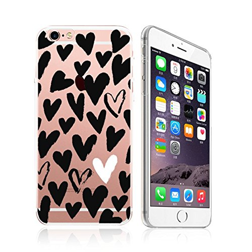 - Apple iPhone 8 / 7 Compatible, Designer Choice Collection Colorful Flexible Ultra Slim Transparent Translucent Apple iPhone Case Cover - Hand drawn Black And White Hearts Overload