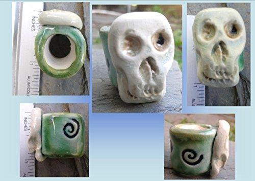 - 1 Sea Green Turquoise Large Hole Ceramic Skull Macrame Bead Dreadlock Dread Sugar Skull Pottery
