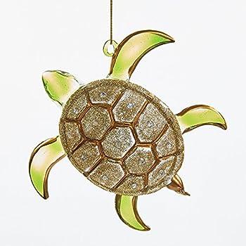 Amazon.com: Kurt Adler Glass Glitter Sea Turtle Ornament, 4.75-Inch ...