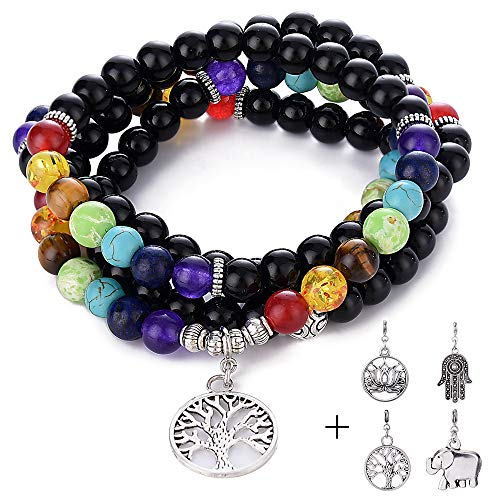 Turandoss 108 Bead Chakra Bracelet - 8mm Semi-Precious Healing Black Agate Bead 108 Buddhist Prayer Mala Beads Tree of Life 7 Chakra Bracelet Necklace