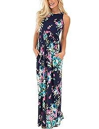 Women's Floral Sleeveless Tank Racerback Long Maxi Dresses With Pocket