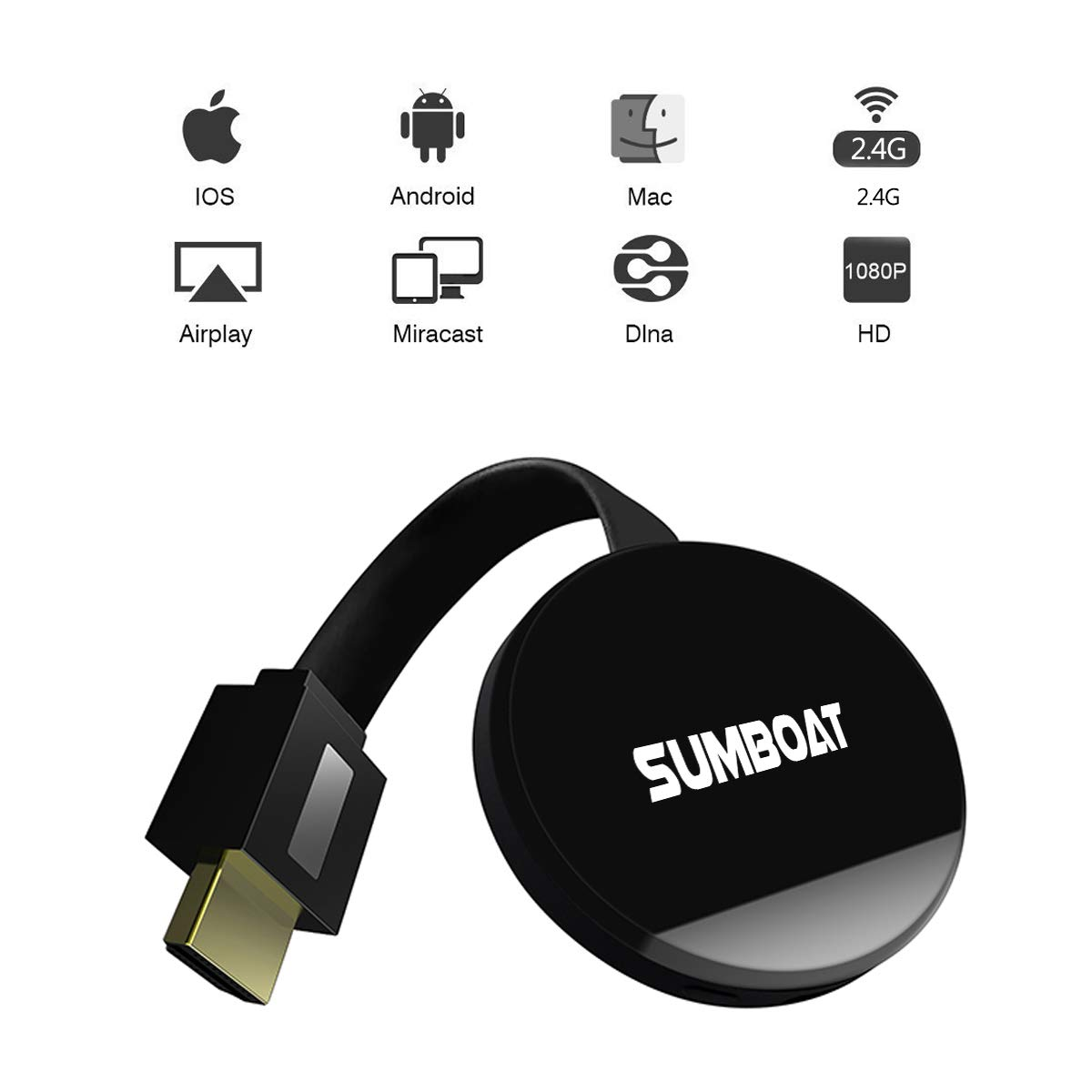 SUMBOAT WiFi Display Dongle Ligthning Wireless Screen Share HDMI 1080P TV Stick Converter Adapter for Streaming Video Picture Files Support DLNA AirPlay Miracast(Black)