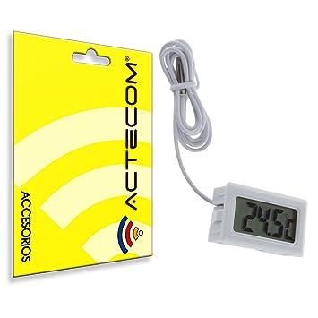 ACTECOM® Termómetro Digital Acuario Pecera Terrario LCD con Sonda: Amazon.es: Electrónica