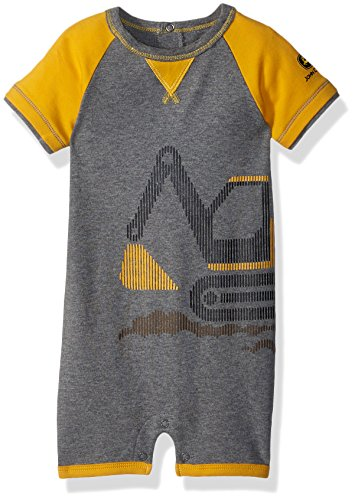 John Deere Baby Boys Romper, Heather Grey/Construction Yellow, 18/24 Month