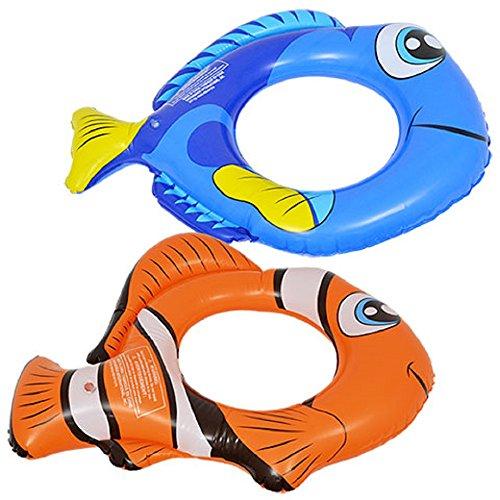 Kids Spring Summer SET OF 2 Fun Backyard Float Outdoor Playtime Pool Lake Beach Swim Splash Rings, 22 in X 18 in Blue and Orange Fish