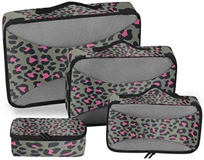 ピンクレオパードプリント 荷物パッキングキューブオーガナイザートイレタリーランドリーストレージバッグポーチパックキューブ4さまざまなサイズセットトラベルキッズレディース