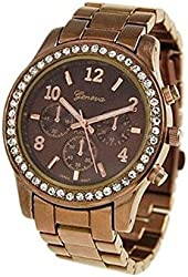 Chocolate Geneva Crystal Rhinestone Chronograph Watch with Metal Link Band