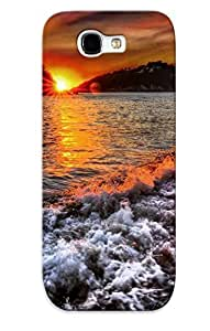 Case For Galaxy Note 2 Tpu Phone Case Cover(foamy Waves On The Beach) For Thanksgiving Day's Gift