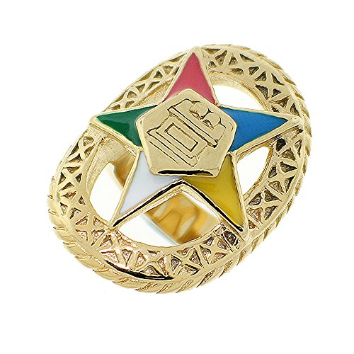 Eastern Star Symbol (Order of the Eastern Star Ring - Gold Color Webbed Steel Band with OES Symbol. Masonic Rings / OES Jewelry (Size)