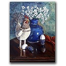 Chicken Polish Pottery Flower Still Life Art Print for Farmhouse Home Wall Decor Size mat option