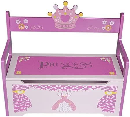 Kiddi Style Children's Princess Wooden Toy Storage Box and Bench - Pink, PRNC-1TB
