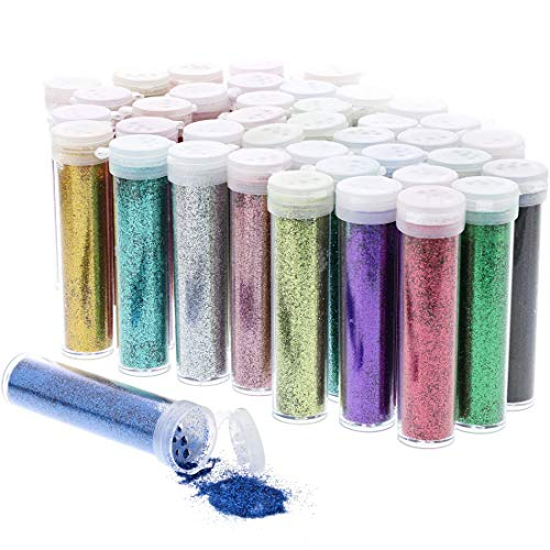 Fairy Fine Art - Juvale Glitter Tube Shakers for Crafts, Makeup, Kids Slime (40 Pack), Multicolored