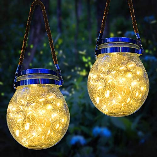 Hanging Solar Lantern,2 Pack 30 LED Crystal Crackle Glass Solar Fairy Jar Lights,Best for Outdoor Patio Party Garden Wedding Decor Table Lantern Lights