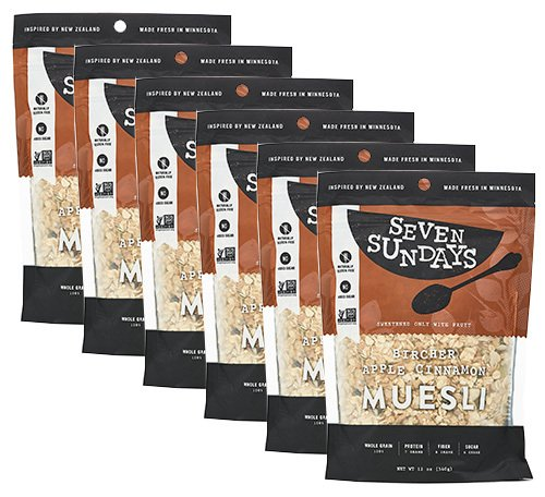 Seven Sundays Gluten Free Muesli - Bircher Unsweetened Apple Cinnamon {12 oz. pouches, 6 Count} - Non-GMO Certified, Hot or Cold Breakfast Muesli -