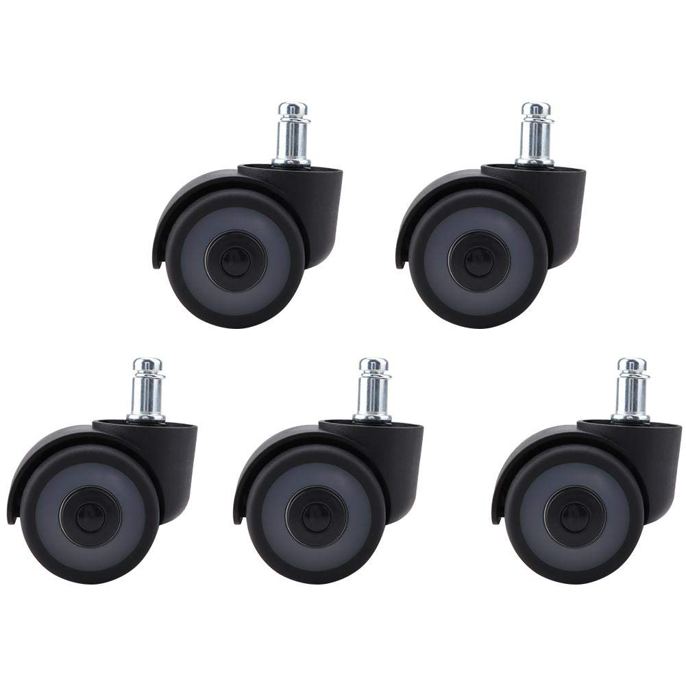 Fevas 5pcs 2'' Swivel Wheels Office Chair TPR Casters Heavy Duty Home Furniture Replacement Tool