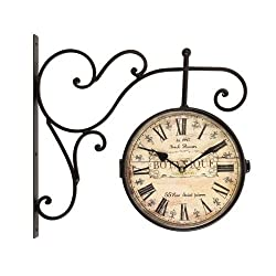 Adeco CK0075 CK0075 Adeco Wrought Iron Antique-Look Brown, Round Wall Hanging Double Side Two Faces Train Railway Station style Clock Botanique Roman Numerals, Scroll Wall Side Mount Home Decor, Brown