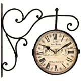 """Adeco CK0075 CK0075 Adeco Wrought Iron Antique-Look Brown, Round Wall Hanging Double Side Two Faces Train Railway Station style Clock """"Botanique"""" Roman Numerals, Scroll Wall Side Mount Home Decor, Brown"""