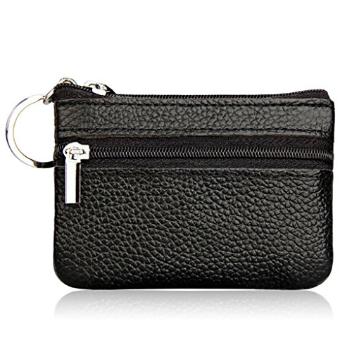 lovelive99 Womens Genuine Leather Zipper Mini Coin Purse with Key Ring Card Holder Wallet (Black)