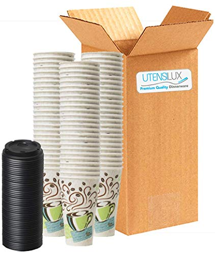 Dixie Perfectouch Insulated Paper Hot Cup, Coffee Haze Design, 16 oz, 75 Cups Plus 50 Black Lids