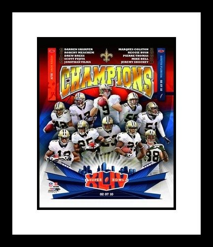 New Orleans Framed Photograph (New Orleans Saints Framed 8x10 Photograph Super Bowl XLIV Champions Collage)