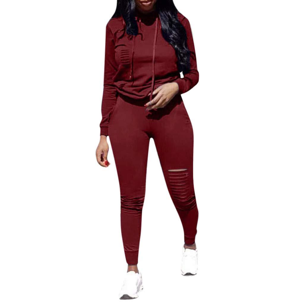 DRAGONHOO Pullover Hoodie Women Fashion Womens Long Sleeve Hole Pocket Hoodies Drawstring Pants Loose Tops Set Tank Tops for Women by DRAGONHOO