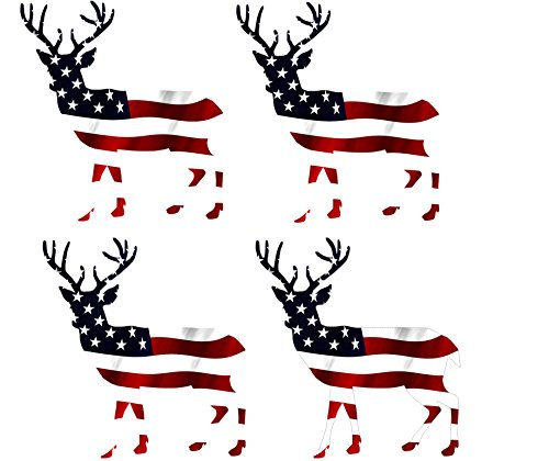 (Rogue River Tactical Large 4 Pack Deer Hunter Buck Decal Sticker Silhouette American Flag USA Patriotic Decal Auto Bumper Sticker Vinyl Car Truck RV SUV Boat Window Hunting)