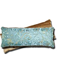 Handmade Eye Pillow by Candi Andi - Yoga - Therapy - Microwavable Hot / Cold - Flax Seed Filled - Colorful Satin Brocade and Crushed Velvet - Lavender Scented - Blue Lagoon - TEPL-BL