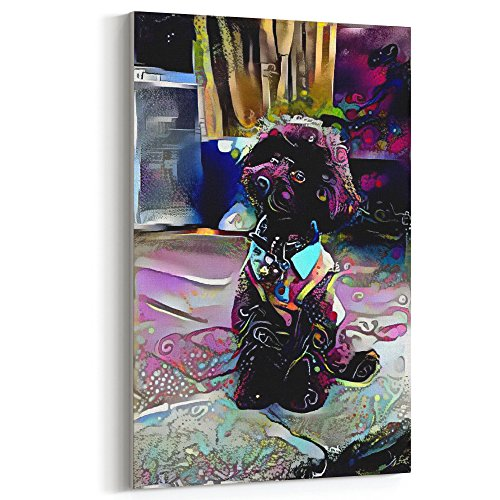 Westlake Art - Poodle Dog Canvas Wrap 12x18 inch Canvas Modern Artwork Abstract Paintings Pictures Printed Wall Art for Home Office Decorations Unique Gift Idea (Dog Pictures Poodle)