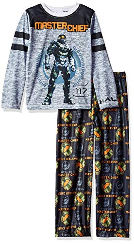Halo Big 2-Pc Boys' Pajama Set: Long Sleeve Shirt, and PJ Pant, Black/Grey, 8]()