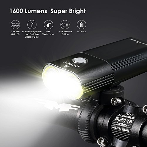 INTEY Bike Light Portable Charger, 5000mAh 1600 Lumens Bicycle Headlight with Wire Remote Button