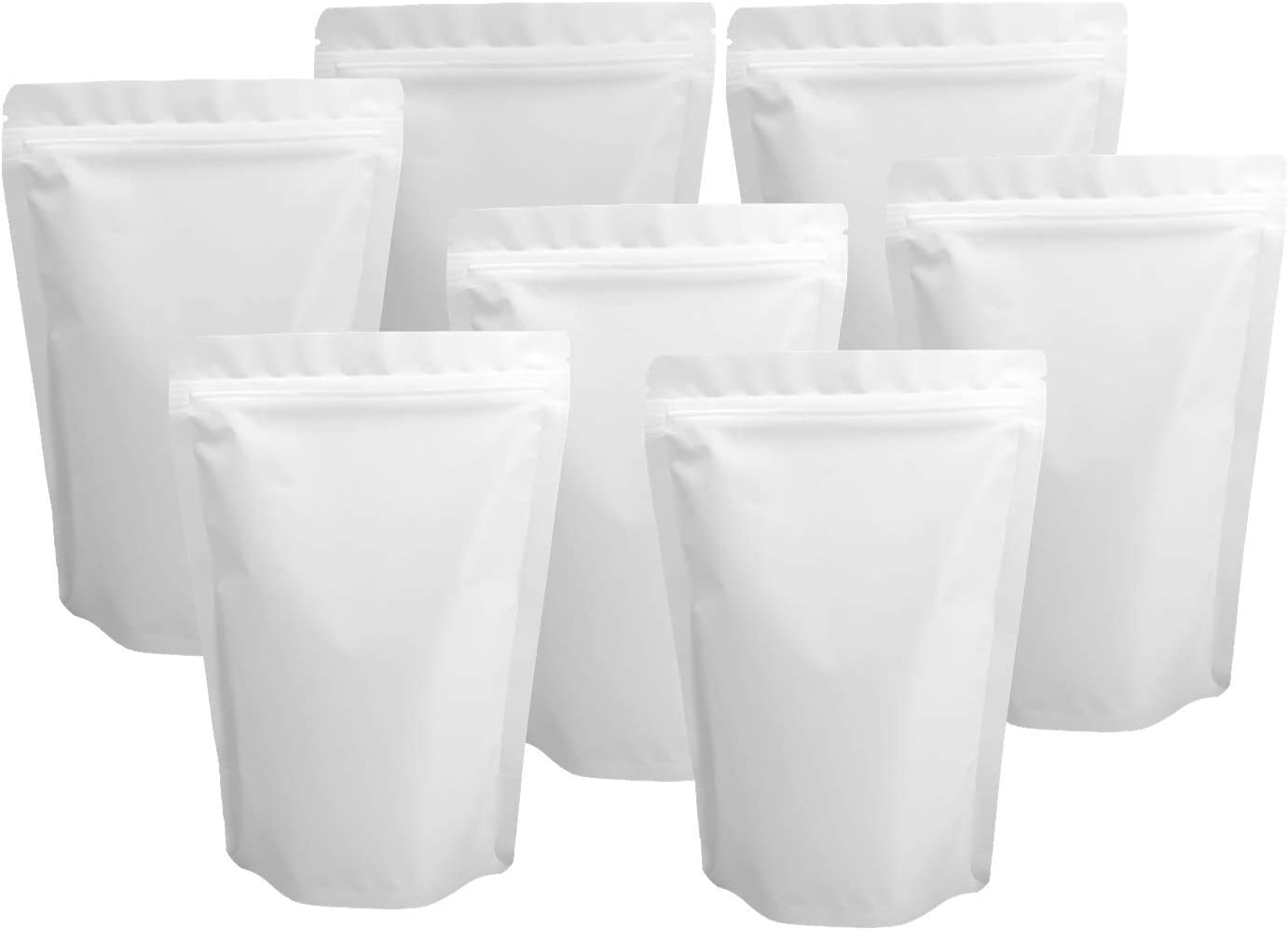 100 Pack Resealable White Mylar Stand Up Bags - 5.5x7.8 Inches Smell Proof Ziplock Pouches, Heat Sealable Foil Packaging Bags for Food Storage - Matte White