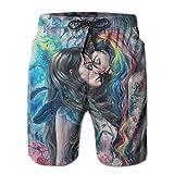YongColer Men Beach Board Shorts Surfing Swimwear Swim Trunks (Goth Girl Lace Love LGBT)