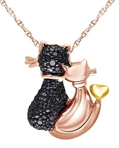 Wishrocks 14K Rose Gold Over Two Tone Sterling Silver Black Natural Diamond Accent Loving Cats Pendant Necklace