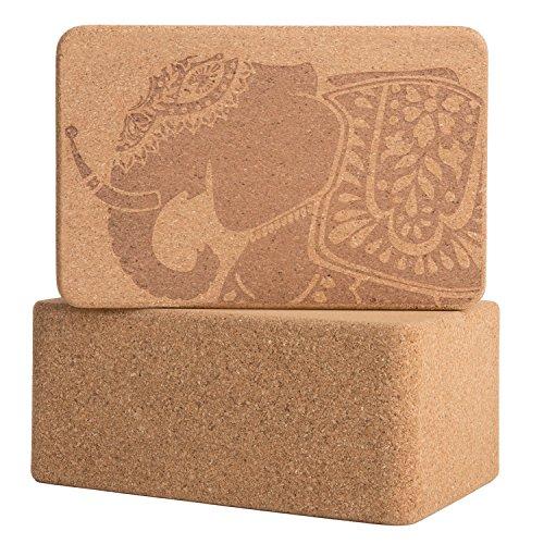 Peace Yoga Set of 2 Cork Wood 9' x 6' x 3' Yoga Blocks
