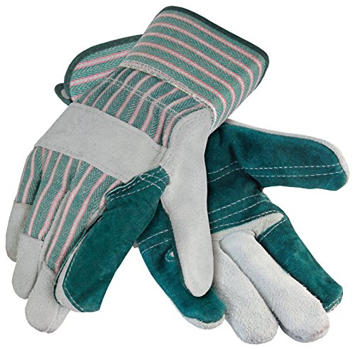 Galeton 2414-XL Heavy Shoulder Leather Double Palm Gloves, Safety Cuff, X-Large, Green Stripe (Pack of 12) ()