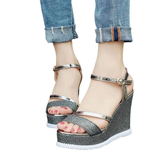 Cunei Piattaforma Donna Fheaven Scarpe Sandali Estivi Bling Peep-toe Strap Scarpe A Tacco Alto Nere