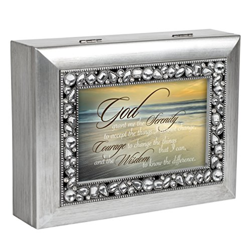 Serenity Prayer Ocean Waves Brushed Silver Jeweled Music Box Plays You Light Up My Life