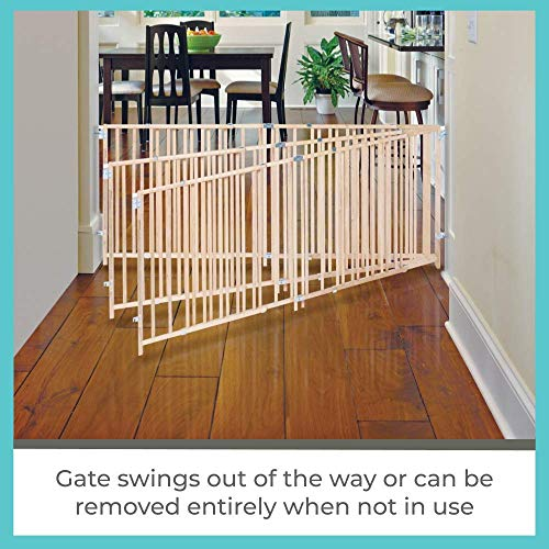 """Toddleroo by North States 103"""" Wide Extra Wide Swing Baby Gate: Perfect for Oversized Spaces. No Threshold. One Hand Operation. Hardware Mount. Fits 60""""- 103"""" Wide (27"""" Tall, Sustainable Hardwood)"""
