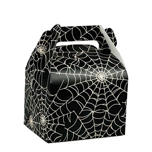 10pcs Halloween Theme Big Candy Boxes Holiday Celebration Candy Box Personality Spider Web Box Christmas Party Supplies -