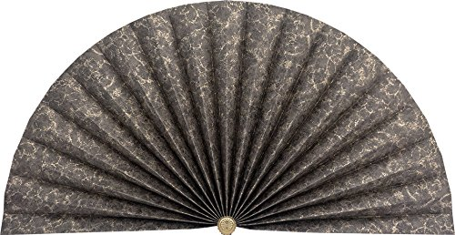 Neat Pleats Decorative Fan, Hearth Screen, or Overdoor Wall Hanging - L434 - Black with Gold Marbled Accents (Screen Fan Fireplace)