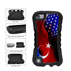 Turkey and USA Mixed Flag 2-Piece Dual Layer Phone Case Back Cover Apple iPod Touch 5th Generation