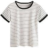 MAKEMECHIC Women's Casual Loose Striped Short Sleeve T-Shirt Tee Top White XL