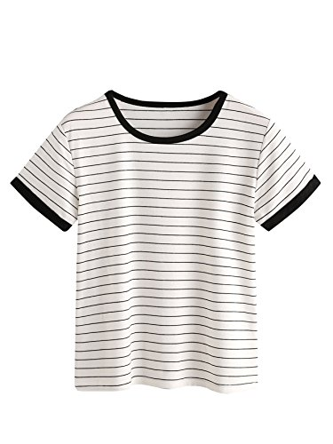 MAKEMECHIC Women's Casual Loose Striped Short Sleeve T-Shirt Tee Top White M