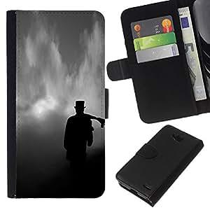 KingStore / Leather Etui en cuir / LG OPTIMUS L90 / Nubes Tophat Significado Deep Dark;