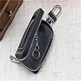 Bigsweety PU Leather Key Wallets Unisex Car Key Fob Bag Case Household Key Holder (Black)