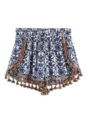 SweatyRocks Women's allover Printed High Waist Summer Shorts Flower Print #2 M