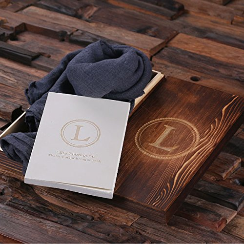 Shawl and Personalized Journal Diary with Wood Box